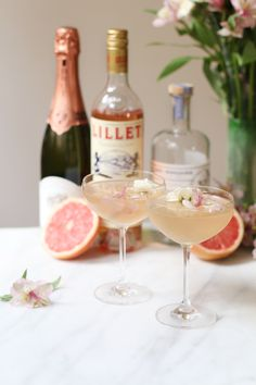 This Lillet Rose Spring cocktail is pink, pretty, and quick! Great for an aperitif or sunny day, check out this easy spring cocktail recipe.