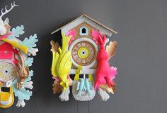 Large+Neon+Pink+&+Green+Cuckoo+Clock.+Working+por+GallivantingGirls,+$245,00