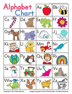 Cute and Simple Alphabet Chart from Kinder Craze on TeachersNotebook.com -  (1 page)  - Student reference chart displays all letters of the alphabet and a coordinating picture for easy reference.