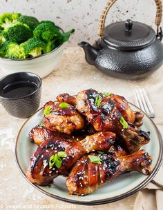 Sticky Hoisin-Soy Chicken Drumsticks - A simple recipe with tons of flavour, perfect for a weeknight meal!