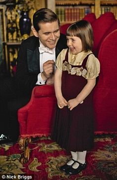 The kiddies are growing... Sybbie with her father Branson!