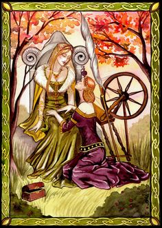 The norse goddess Frigg with her confidant the goddess Fulla, she is Frigg's handmaiden, Fulla wears  a golden ribbon about her head; she carries Frigg's chest, takes care of her shoes and knows her all of her secrets.