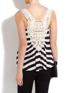 Stripe Crochet Back Cami