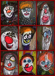"clowns, by Kindergarten artists. (Artsy_T's ""in my classroom 08-19"")"