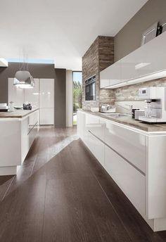 Kitchenette Cuisine Blanc Laqué Norina 9555 - Nadja Home Modern Kitchen Interiors, Modern Kitchen Cabinets, Elegant Kitchens, Luxury Kitchens, Home Kitchens, Diy Cabinets, Wooden Kitchen Floor, Plywood Kitchen, Kitchen Dresser