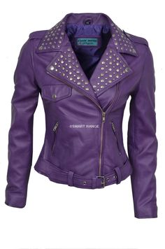 Ladies DOMINO Purple Washed Rockstar Women's Real Studded Leather Biker Jacket