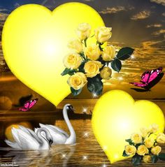 Yellow Roses & Two Big Yellow Hearts. By Artist Unknown. Heart Pictures, Pretty Pictures, 3 Chakra, Heart Gif, Hearts And Roses, Heart Frame, Heart Wallpaper, I Love Heart, Beautiful Love