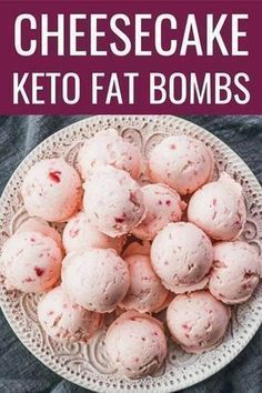 The best keto fat bombs! Tastes like strawberry cheesecake bites, and so simple and easy to make using cream cheese, strawberry (blueberry or blackberry), stevia, and butter. / benefits / keto recipes / breakfast / for kids / lchf Strawberry Cheesecake Bites, Keto Cheesecake, Strawberry Blueberry, Blackberry, Healthy Strawberry Recipes, Cheesecake Calories, Coconut Cheesecake, Gluten Free Cheesecake, Cheesecake Fat Bombs