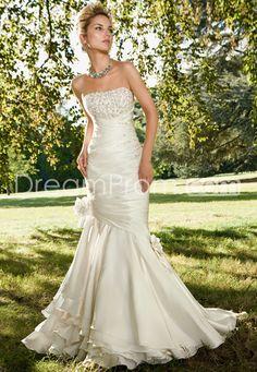 Pretty Trumpet/Mermaid Strapless Court Beadings Wedding Dresses
