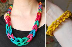 DIY Colorful Rubber Band Chain Jewelry  rainbowsandunicornscrafts:    DIY Rubber Band Chain Necklace and Bracelet Tutorial from Rags to Couture here.Kids and adults can make this so easily.The tutorial calls for a jump ring but you could also just tie it with string, rope, etc… *I started this blog for fun and it's my alter ego blog to myTruebluemeandyoublog because I loved doing crafts as a kid with my mom and friends and still do. I just reached 7,000 followers on Rainbows & Unicorns…