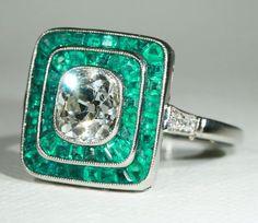 2ct Diamond Emerald Edwardian Target Ring in Platinum, c. 1915