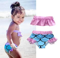Aliexpress.com : Buy Toddler Kids Girl Mermaid Ruffled Shoulder Slash Neck Bikini Set Swimsuit Beachwear Swimwear Bathing Suit Two Piece Suits 2 7T from Reliable two-piece suit suppliers on hirigin swimwear Store