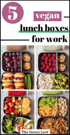 These Easy Vegan Lunch Box Ideas for Work will give you a ton of inspiration for meal prep. Perfect for adult bento boxes or school lunches as well! Easy Vegan Lunch, Vegan Lunch Recipes, Vegan Lunches, Healthy Recipes, Easy Healthy Lunch Ideas, Vegetarian Lunch Ideas For Work, Vegan Meals, Vegan Meal Plans, Healthy Meal Prep