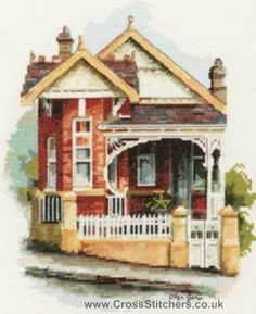 Places - Old Federation House Cross Stitch Chart - Olga Gostin's Australian Heritage Architecture