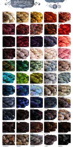 yarn colour palette by Hedgehog Fibres