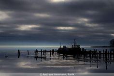 Baltic Coast Germany, Ostseebad Rerik, icecovered Salzhaff at a rainy day, 2013-01-30