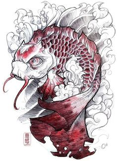 Sick koi fish tattoo design