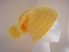 Yellow Slouchie Beanie Hat Women/Girl/Teen Gift by NickiesNoodles on Etsy