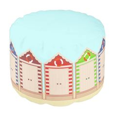 Row of Colorful Beach Huts Pouf