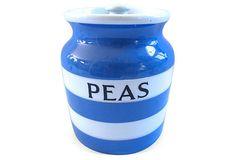 English Cornishware Peas Canister on OneKingsLane.com