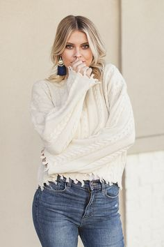 Trend alert: distressed cable knit sweaters amp up any winter #ootd! #fashion #style #outfits