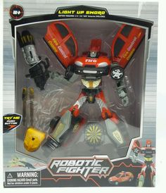 Robotic Fighter robot transforms Fire Car 10in with lights up sword New ages 5+ #midwood
