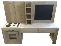 Kinderspeelkeuken met krijtbord van oud of nieuw steigerhout Voorraad artikel (23120161055)