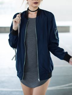 Join the bomb squad with this Longline Bomber Jacket! Comes in a navy or black color of your choice. Made from a woven Polyester fabric giving you a lightweight and thin coverage. Features long sleeve