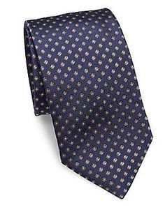Eton Floral Silk Tie - Green-Navy