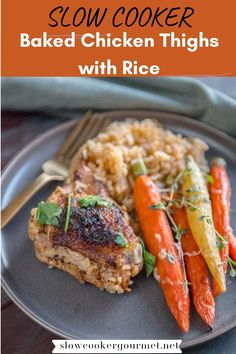 If you're searching for the best recipe for chicken thighs, then you've got to give these Slow Cooker Baked Chicken Thighs with Rice a try! You've never made a chicken thigh recipe easier or tastier than this! #slowcooker #chickenthighs #rice Light Chicken Recipes, Avocado Chicken Recipes, Best Baked Chicken Recipe, Chicken Katsu Recipes, Easy Chicken Thigh Recipes, Chicken Sauce Recipes, Recipe Using Chicken, Healthy Baked Chicken, Baked Chicken Breast