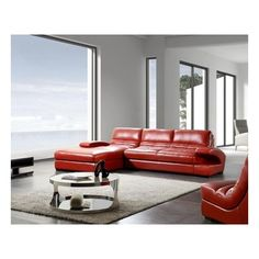 Nicole Modern Red Leather Sectional Sofa with Chair ❤ liked on Polyvore