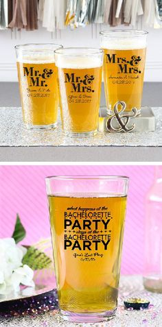Let your wedding guests toast your love with personalized pint glasses!