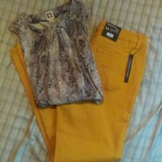 Nwt! Awesome relatively jeans!! New, mustard yellow jeans, very nice, tiny bit of stretch. Size 12  ***shirt in different listing***  will bundle at discount!! Relativity Jeans Straight Leg