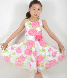 New Girls Dress Rose Flower Wedding Party Pageant Child Clothes Size 4-12