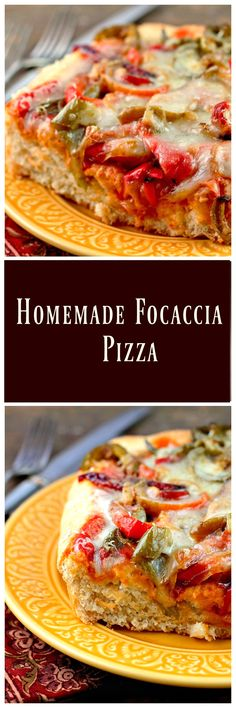 This fantastic recipe starts with a Focaccia Bread recipe that is made into a deep dish Homemade Focaccia Pizza topped with sauteed peppers and onions via @https://www.pinterest.com/BunnysWarmOven/bunnys-warm-oven/