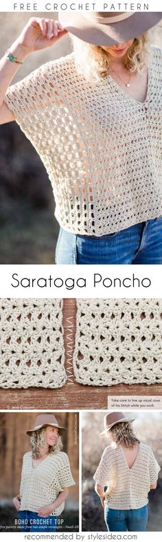 Summer Saratoga Poncho Free Crochet Pattern | Crafts Ideas