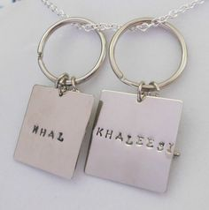 For auction in standby TODAY IN tophatter.com ... Khal and Khaleesi his and her keychains with charms (sun moon and star)