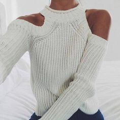 White Plain Long Sleeve High Neck Casual Pullover Sweater