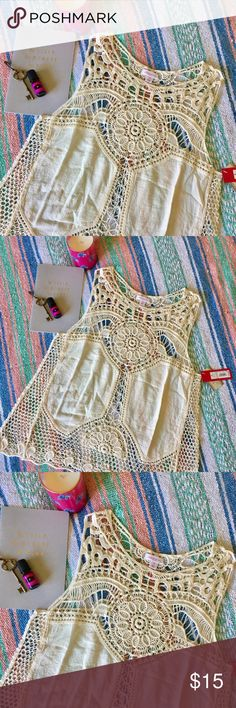 Boho Cream Lace Tank Boho Cream Lace Tank, Size S. Goes with anything! NWT ✨ Xhilaration Tops Tank Tops