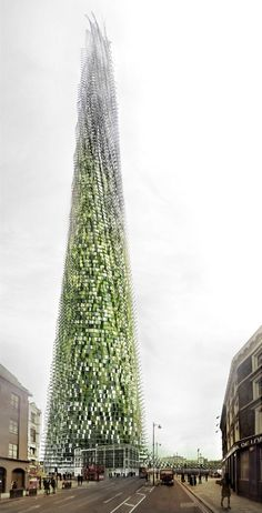 Organic London Skyscraper Grows as Residents Recycle is part of architecture - Designed by Thomas Corbasson,VSA in London,United Kingdom Inspired by vegetative growth and the bamboo scaffolding of Asia, Thomas Corbasson and VSA have proposed a conceptua Architecture Durable, Futuristic Architecture, Sustainable Architecture, Sustainable Design, Amazing Architecture, Landscape Architecture, Architecture Design, Pavilion Architecture, Building Architecture