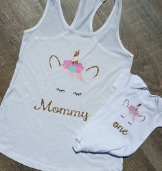 Unicorn First Birthday Mommy & Set , Unicorn Birthday Outfit, Girl Smashcake, 1st bday outfit, Party Shirt, Glitter Gold Pink and Mint Under by PiecesofMyHeartLH on Etsy https://www.etsy.com/listing/511133510/unicorn-first-birthday-mommy-set-unicorn