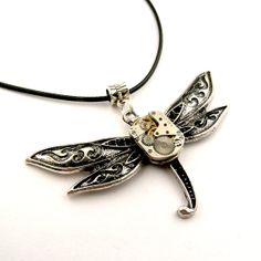 LOVE THIS!!! Techie Dragonfly Pendant  Watch Insect Pendant by SteamSect, $32.00