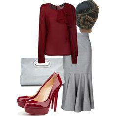 Red blouse and grey skirt. Those heels are too high for me though!