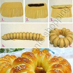 Brioche bread filled with jam Bread And Pastries, Bread Art, Bread Shaping, Food Decoration, Sweet Bread, Creative Food, Sweet Recipes, Dessert Recipes, Food And Drink