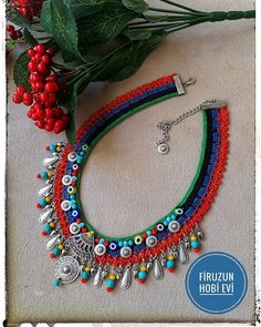 Diy Jewelry Necklace, Fabric Necklace, Macrame Jewelry, Fabric Jewelry, Bohemian Jewelry, Jewelry Crafts, Jewelery, Crochet Necklace, Handmade Jewelry