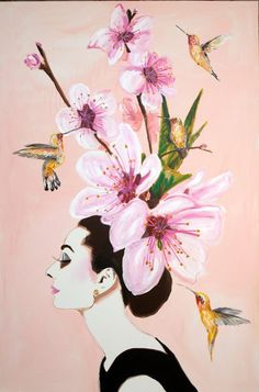 Audrey With Cherry Blossom Hat by Ashley Longshore
