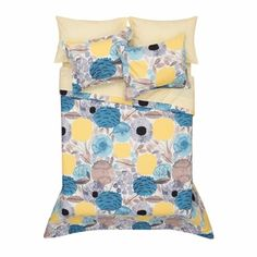 Aino-Maija Metsola's Sitruunapuu pattern is a modern interpretation of the lemon tree. Bold blossoms and fresh citrus are illustrated with a watercolor-like artistry in blue, yellow and taupe atop a wh King Duvet Set, Duvet Sets, Duvet Cover Sets, Marimekko Bedding, Blue Duvet, Make Your Bed, Bedroom Wall, Pillow Shams, Shades Of Blue