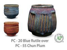 AMACO Potter's Choice layered glazes PC-55 Chun Plum and PC-20 Blue Rutile.