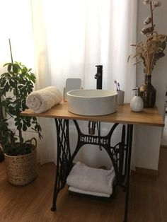 this article is not available Repurposed Furniture, Home Decor Furniture, Rustic Furniture, Furniture Makeover, Sewing Machine Tables, Old Sewing Machines, Sewing Table, Rustic Bathroom Designs, Bathroom Styling
