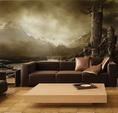 MURAL Lord Of The Ring Style Theme Wall Paper, Self-Adhesive Wall Covering, Peel And Stick Repositionable Wallpaper